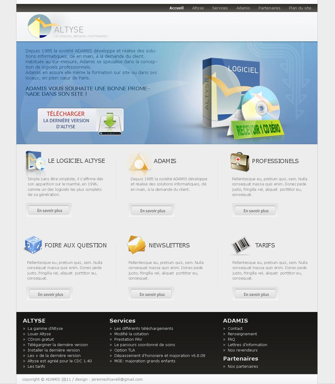 Maquette de la page d'accueil du site d'Altyse