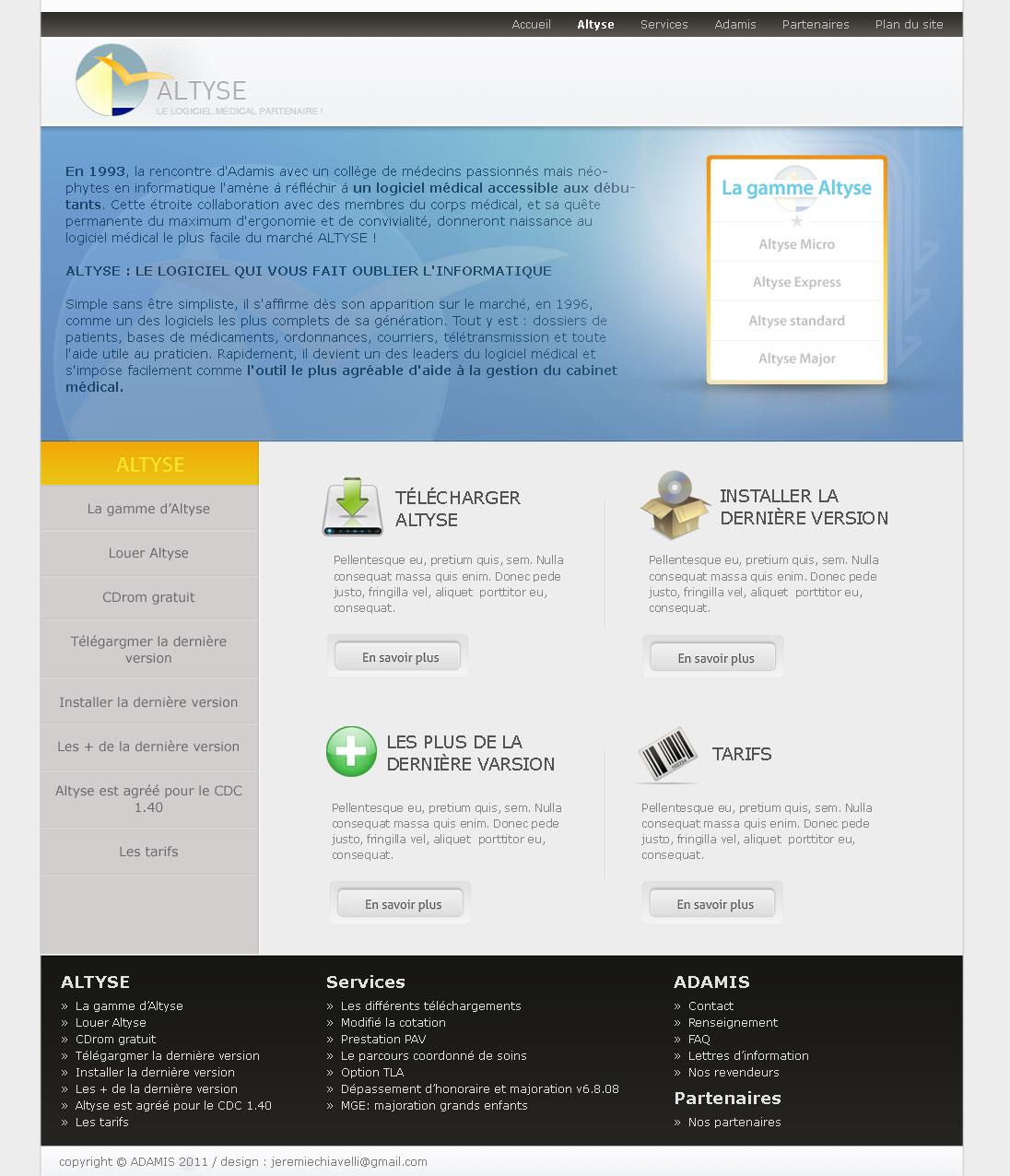 Maquette de page du site d'Altyse