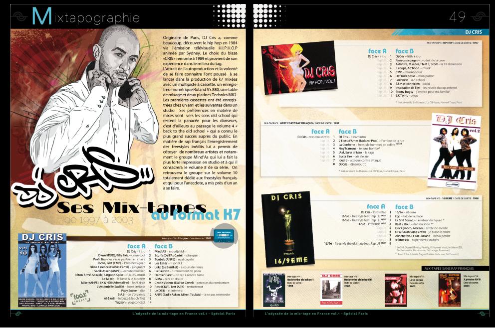 Maquette pour la partie Mixtapographie de l'anthologie du rap français