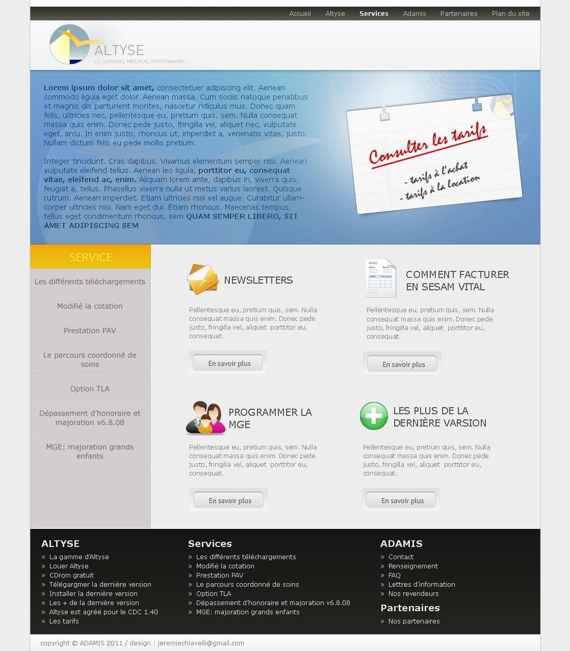 Maquette de la page service du site d'Altyse