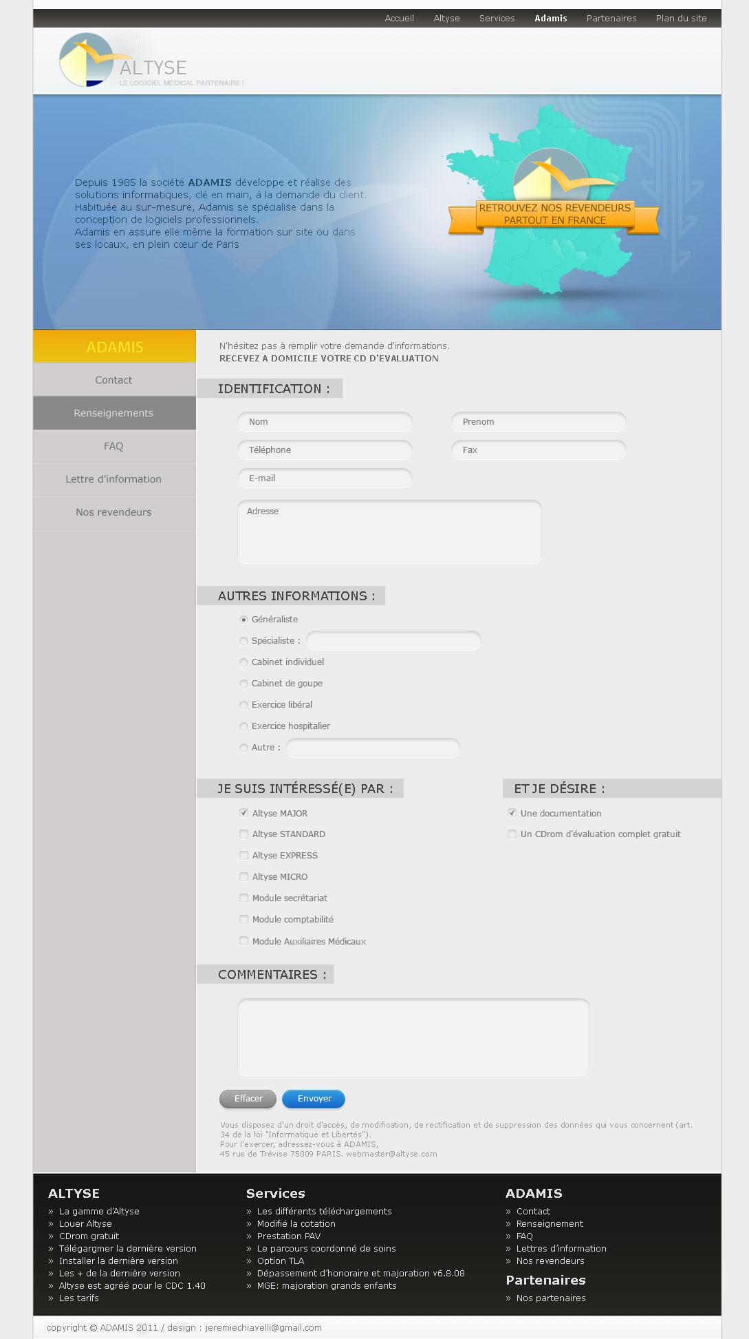 Maquette de la page renseignement du site d'Altyse