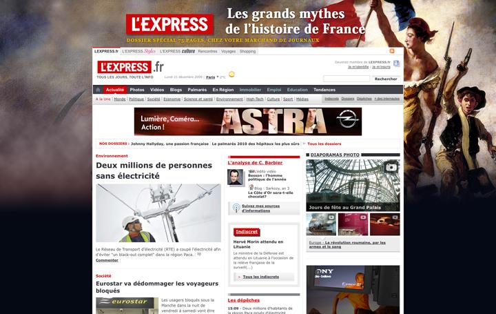 Habillage de la home de lexpress.fr pour un numéro spécial du journal lexpress