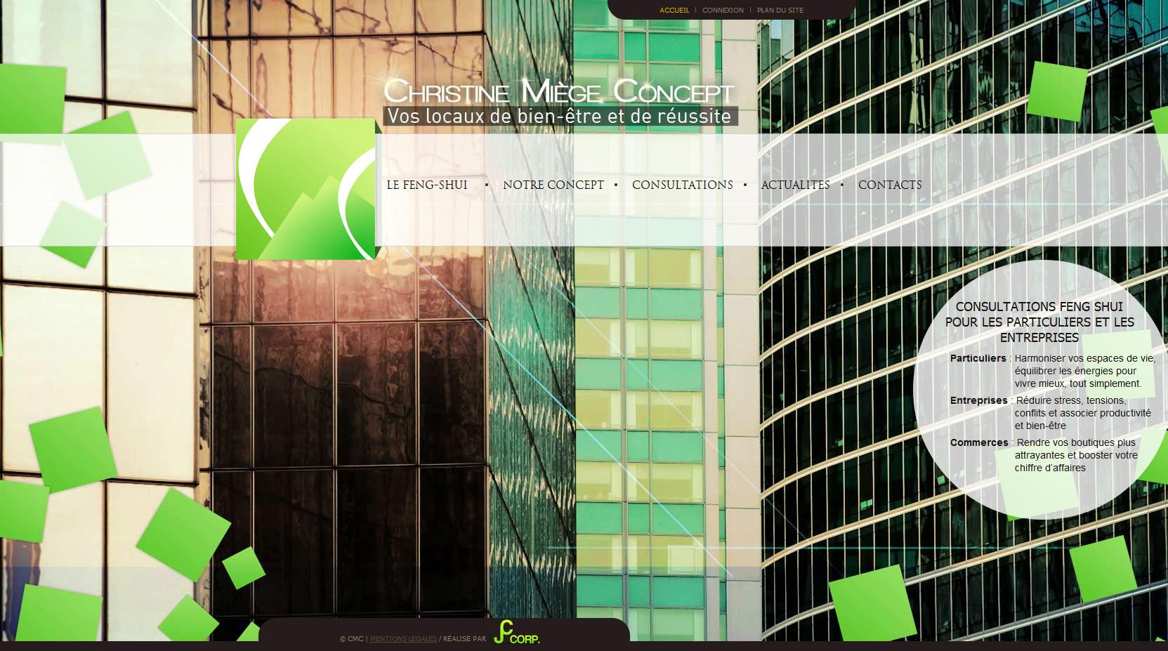Page d'accueil du site christinemiegeconcept.com