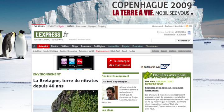 Habillage de la home de lexpress.fr pour « Copenhague 2009 »