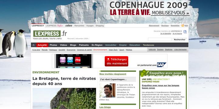 Habillage de la home de lexpress.fr pour «Copenhague 2009»