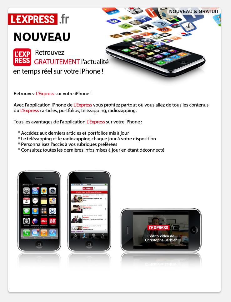 E-mailing pour l'application lexpress.fr sur smartphone