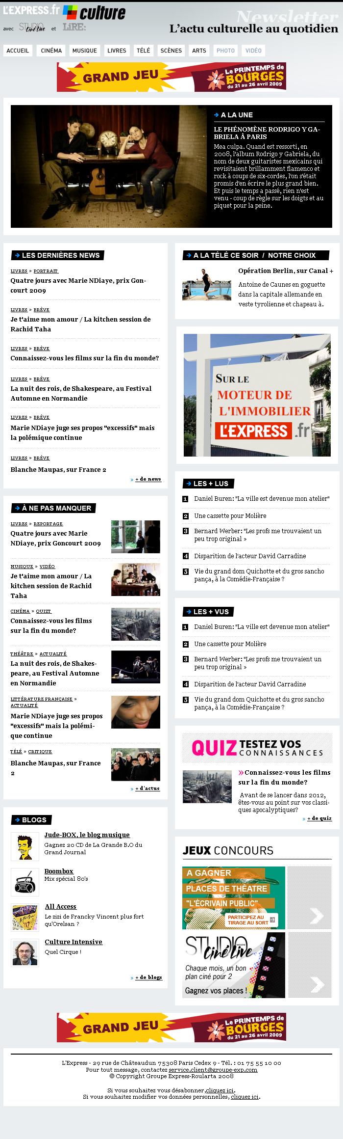 Maquette de newsletter quotidienne pour lexpress culture