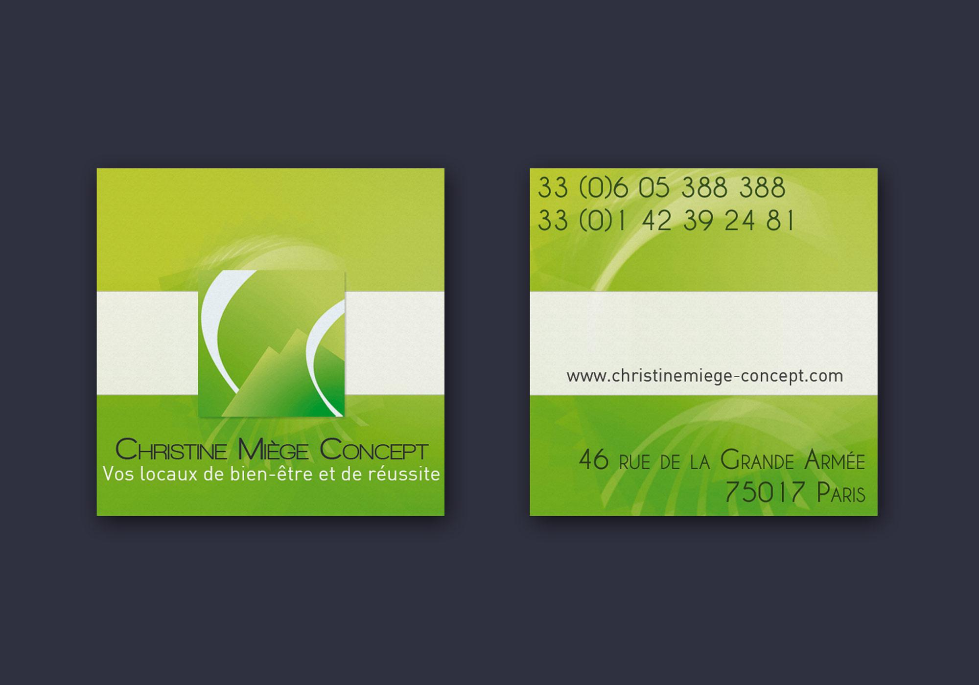 Cartes de visite pour Christine Miège Concept