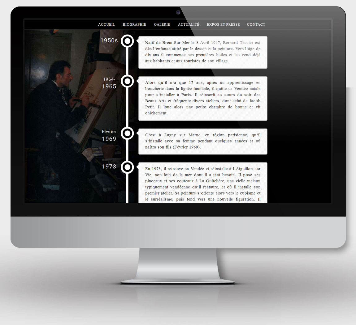Page Biographie du site b-tessier.fr